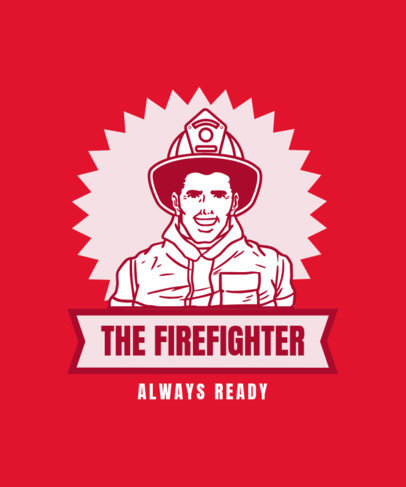Retro T-Shirt Design Template with a Firefighter Character 13h