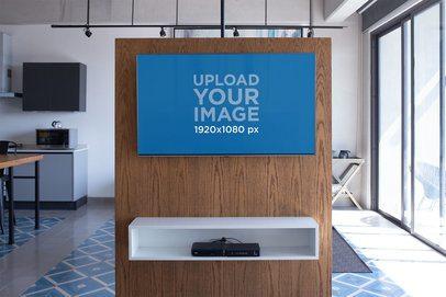 Flat Screen Smart TV Mockup in a Modern House 25838