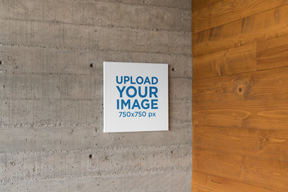 Mockup of a Squared Art Print in a Corner of Concrete and Wood 25866