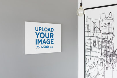 Mockup of an Art Print Canvas in an Avant-Garde Apartment 25871