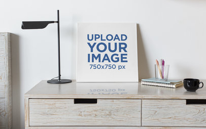 Art Print Canvas Mockup Featuring a Neat Bedroom 25875