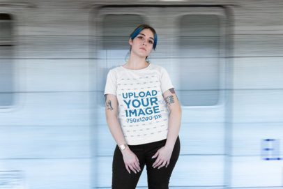Plus Size Tee Mockup of a Tattooed Girl Standing Beside a Moving Train 25474
