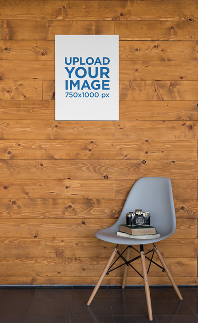 Mockup of an Art Canvas Hanging on a Wooden Wall 25860