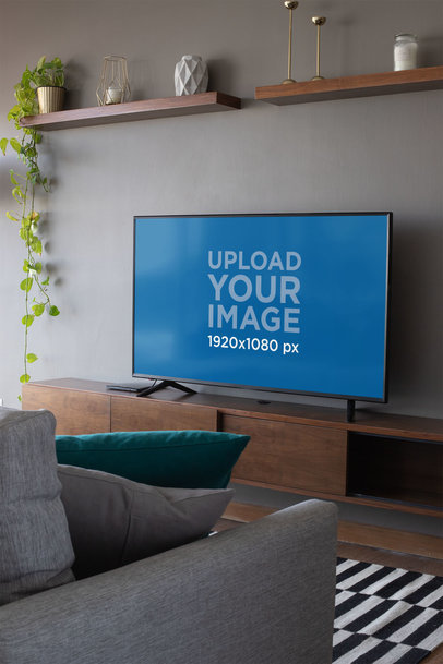 Mockup of a Smart Tv in a Modern Living Room 25883