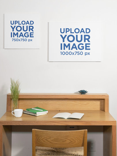 Mockup of Two Canvas Prints Hanging on a Wall 25869