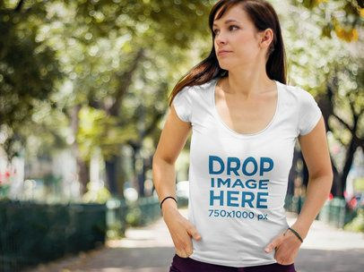 T-Shirt Mockup of Woman Walking Through a Park 5690a