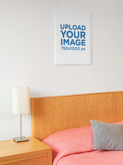 Print Canvas Mockup Featuring a Girly Room 25870