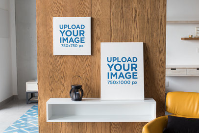 Mockup of a Square Canvas Print and a Vertical Wall Canvas in a Modern Living Room 25857
