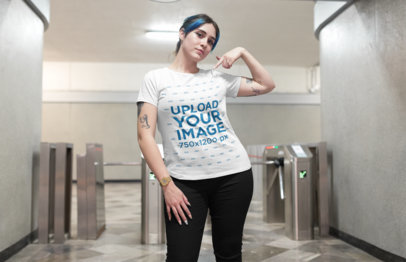 Mockup of an Edgy Girl Showing off Her Tee at a Train Station 25478