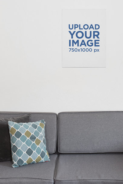 Vertical Print Canvas Mockup Featuring a Slick Living Room 25865
