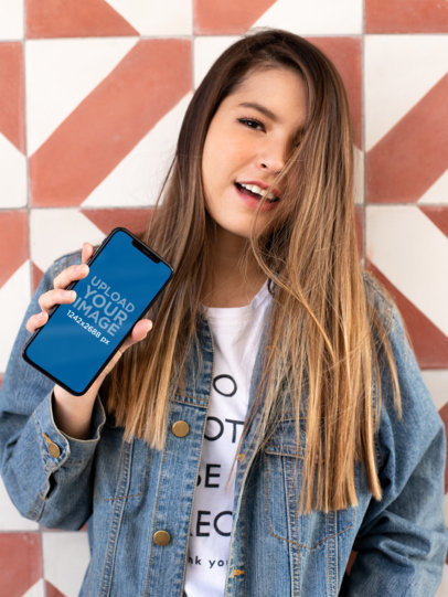 iPhone XS Max Mockup of a Pretty Girl with Long Hair 25818