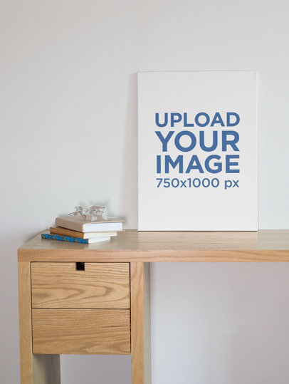 Canvas Print Mockup over a Simple Desk 25874