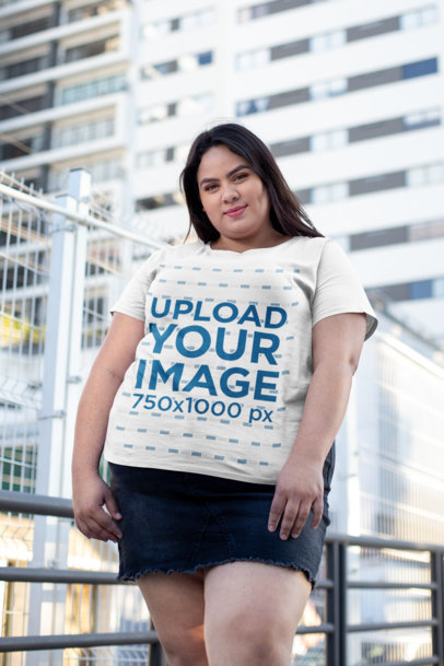 Plus Size Tee Mockup of a Girl Hanging out in the City 25459