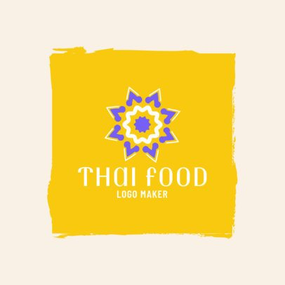 Thai Restaurant Logo Maker with a Minimalist Flower 1839
