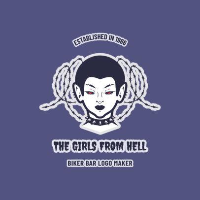 Biker Bar Logo Maker with a Devil Girl Clipart 1767a