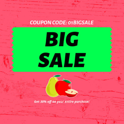 Big Sale Coupon Design Maker with Food Graphics 1029a