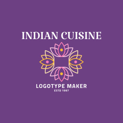 Indian Cuisine Logo Featuring Lotus Flowers 1829a