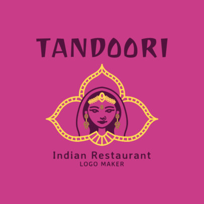 Restaurant Logo Creator with a Traditional Indian Woman 1829c