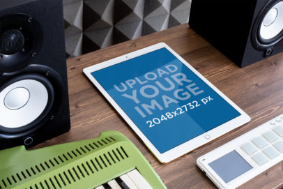 Mockup of an iPad Pro in a Music Studio 25613