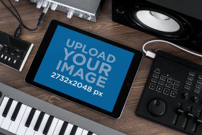 iPad Mockup Surrounded by Musical Equipment 25615