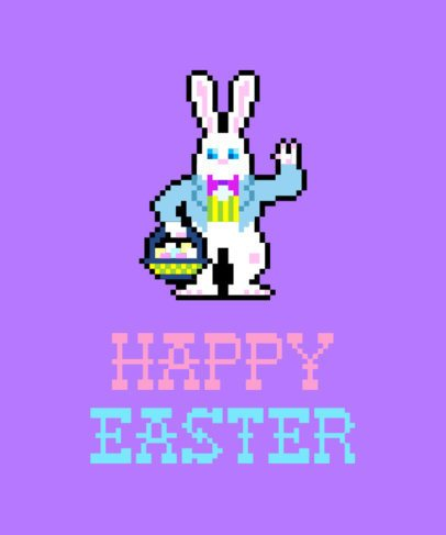 Easter T-Shirt Design Template with Pixel Art Easter Bunny 1211f