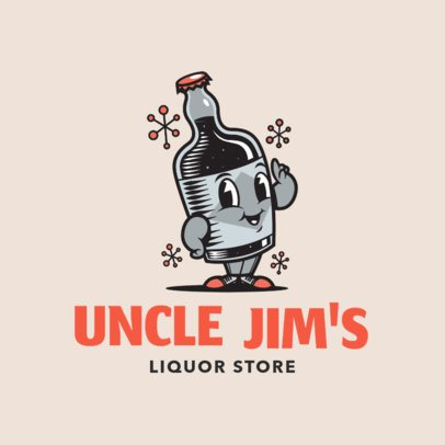 Liquor Store Logo Maker with a Funny Bottle Cartoon Character 1815a