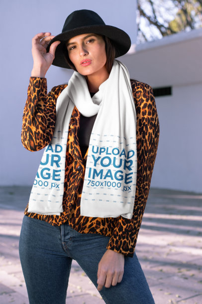 Mockup of a Trendy Woman Wearing a Scarf 25660