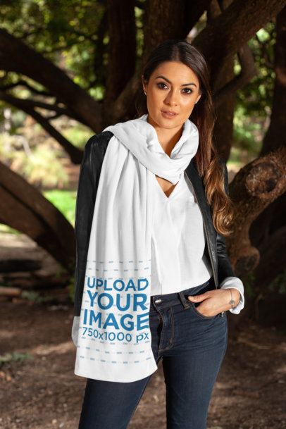 Scarf Mockup Featuring a Pretty Woman Posing by a Big Old Tree 25679