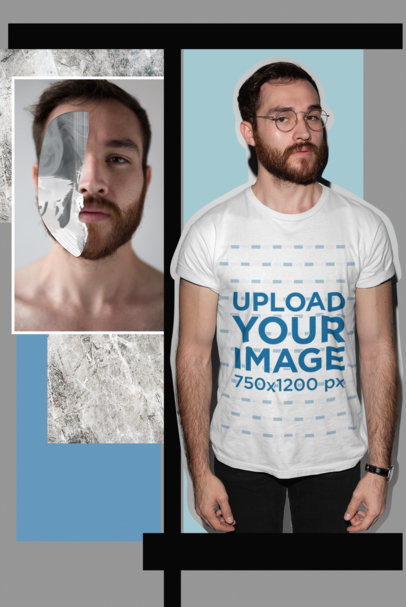 Creative Cutout Mockup Featuring a Handsome Man Wearing a Tee 18688