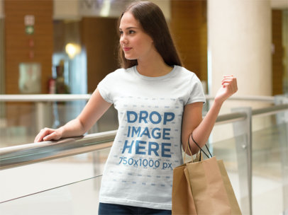 T-Shirt Mockup of a Woman at a Shopping Mall a7982