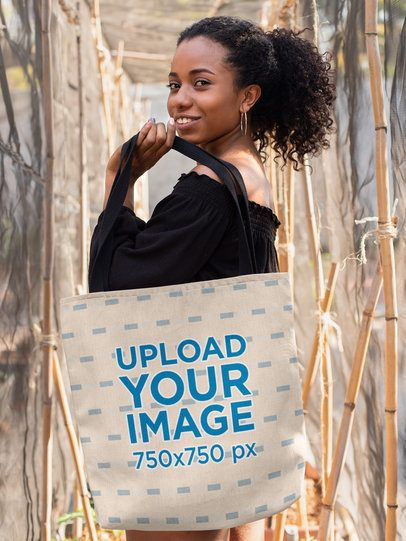 Tote Bag Mockup of a Smiling Girl with a Kinky Hair Ponytail 26690