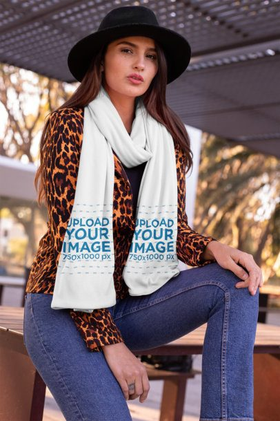 Scarf Mockup of a Girl with a Fedora Hat at the Park 25662