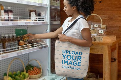 Tote Bag Mockup Featuring a Woman Shopping in a Grocery Store 26699
