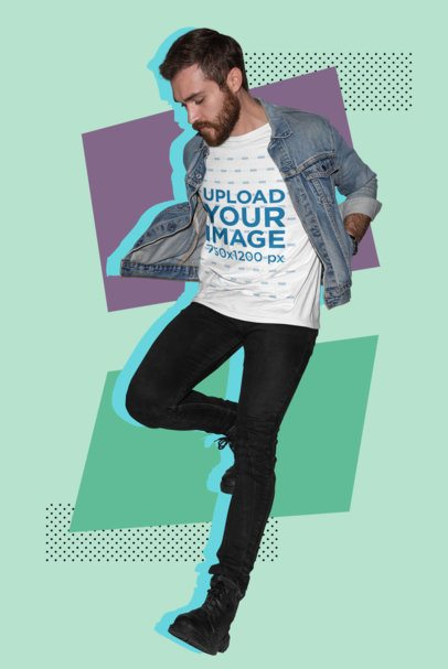 Illustrated Cutout Mockup Featuring a Cool Man Wearing a T-Shirt 18689