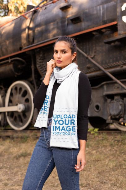 Scarf Mockup of a Woman Beside of a Standing Train 25665