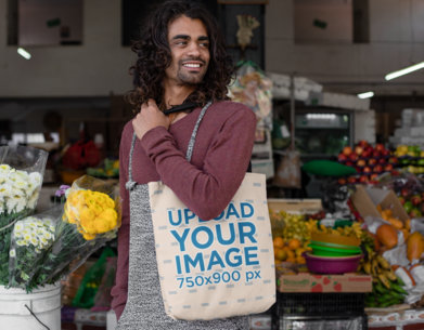 Tote Bag Mockup of a Man with Long Hair in a Food Market 26703