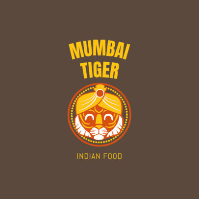 Indian Food Logo Maker with a Friendly Tiger Graphic 1828a