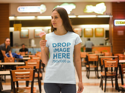 T-Shirt Mockup of a Woman Enjoying an Ice Cream a7993