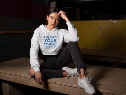 Crop Top Hoodie Mockup of a Pretty Girl with Urban Style Posing at Night 26092