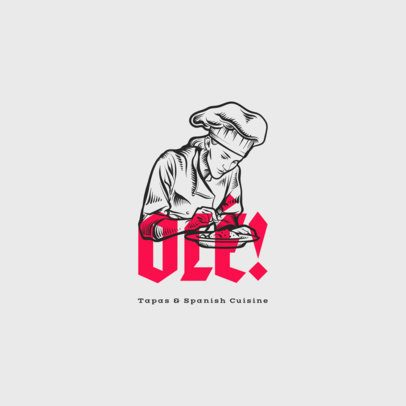 Spanish Cuisine Restaurant Logo Maker with Chef Clipart 1916