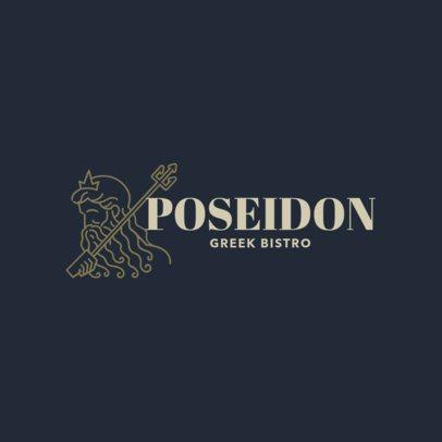 Greek Restaurant Logo Template for a Greek Bistro with Poseidon Clipart 1912b