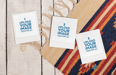Mockup of Three Polaroid Frames over a Tribal Mat 26166