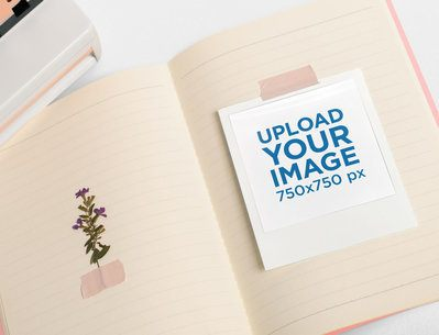 Mockup of a Polaroid Frame Scotch-Taped to an Open Notebook 26176