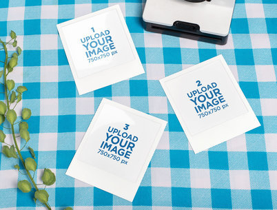 Mockup of Three Polaroid Picture Frames over a Checkered Tablecloth 26182