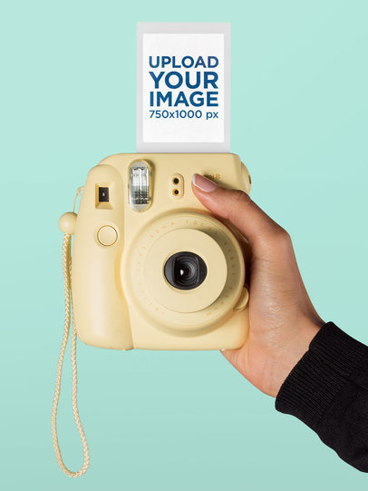 Instax Frame Mockup Featuring an Instant Camera 26159