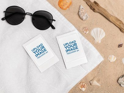 Mockup of Two Polaroid Picture Frames over a Towel at the Beach 26183