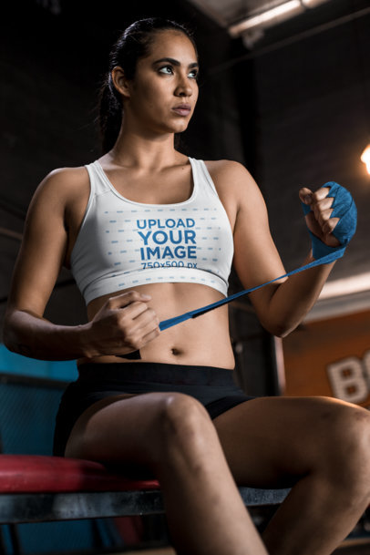 Sports Bra Mockup of a Tough Woman Preparing for a Fight 26241