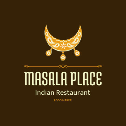 Restaurant Logo Maker with an Ornamental Indian Clipart 1830a