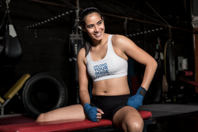 Sports Bra Mockup of a Fit Woman on a Work Out Bench 26245