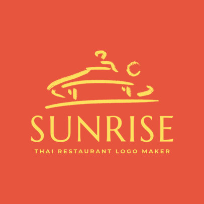 Logo Maker for a Thai Food Restaurant with Minimalistic Clipart 1840a